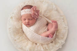 Tiny Feet Photography newborn baby girl in cream bowl