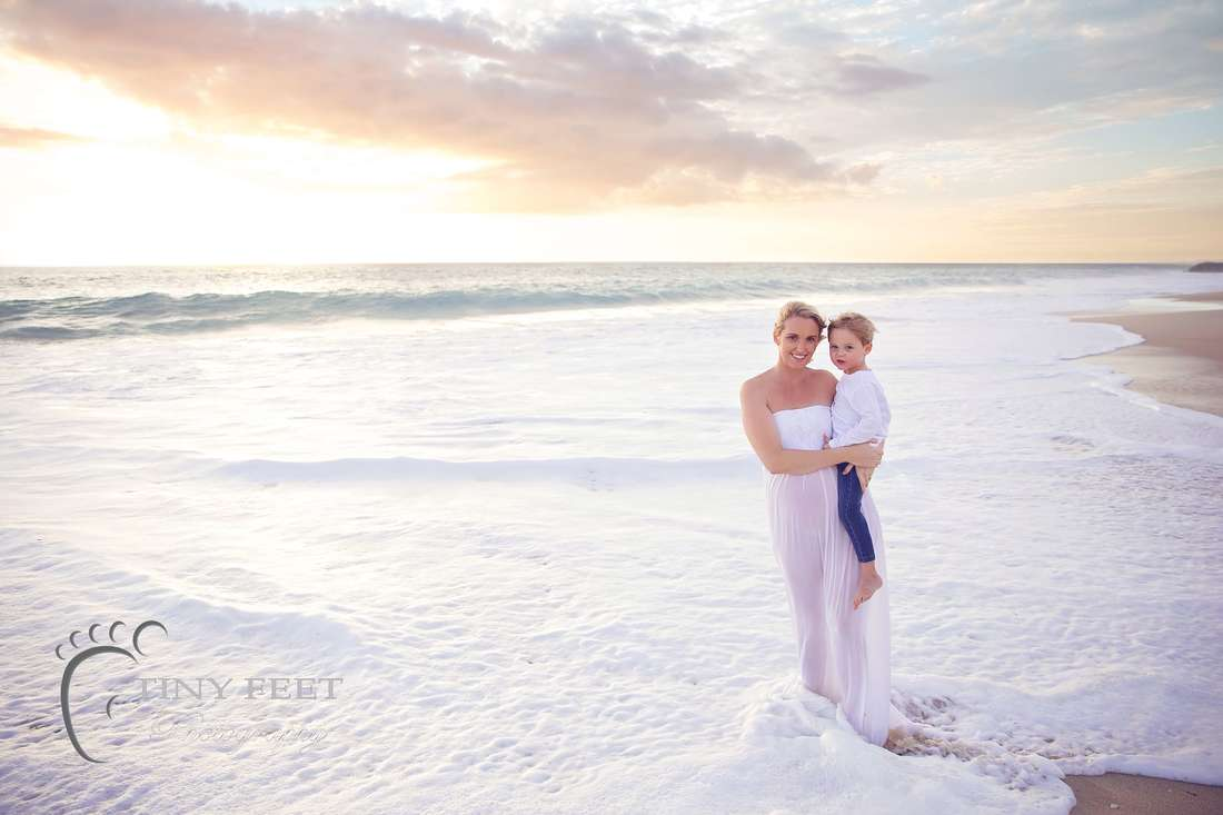 Sunset beach maternity photo with mum and son