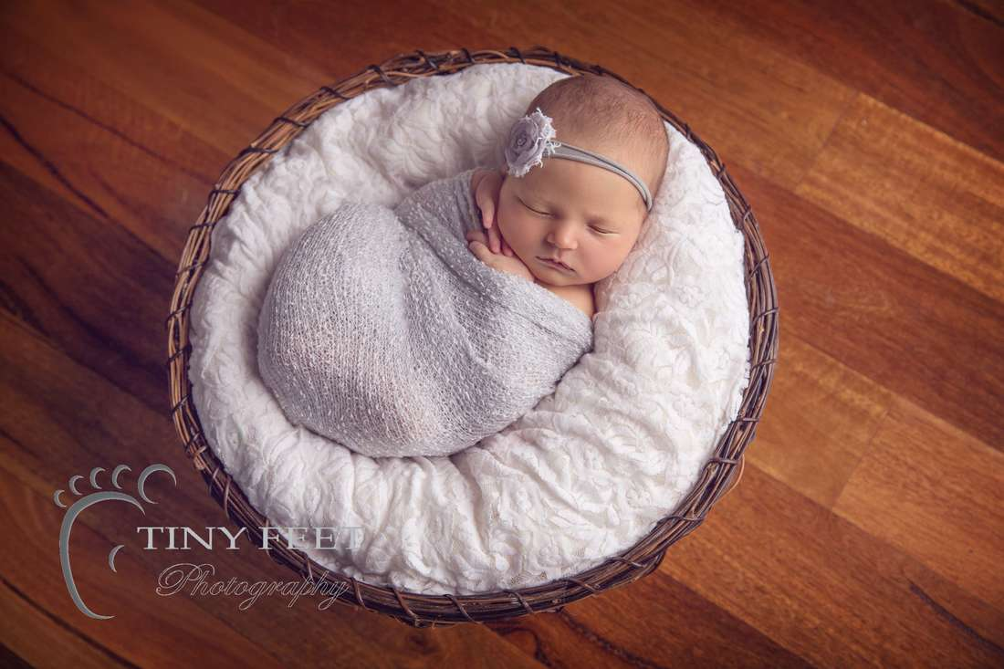Tiny Feet Photography baby girl posed in basket