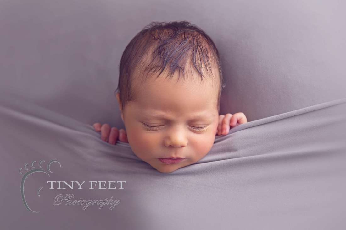 Tiny Feet Photography baby boy tucked in pose on grey blanket