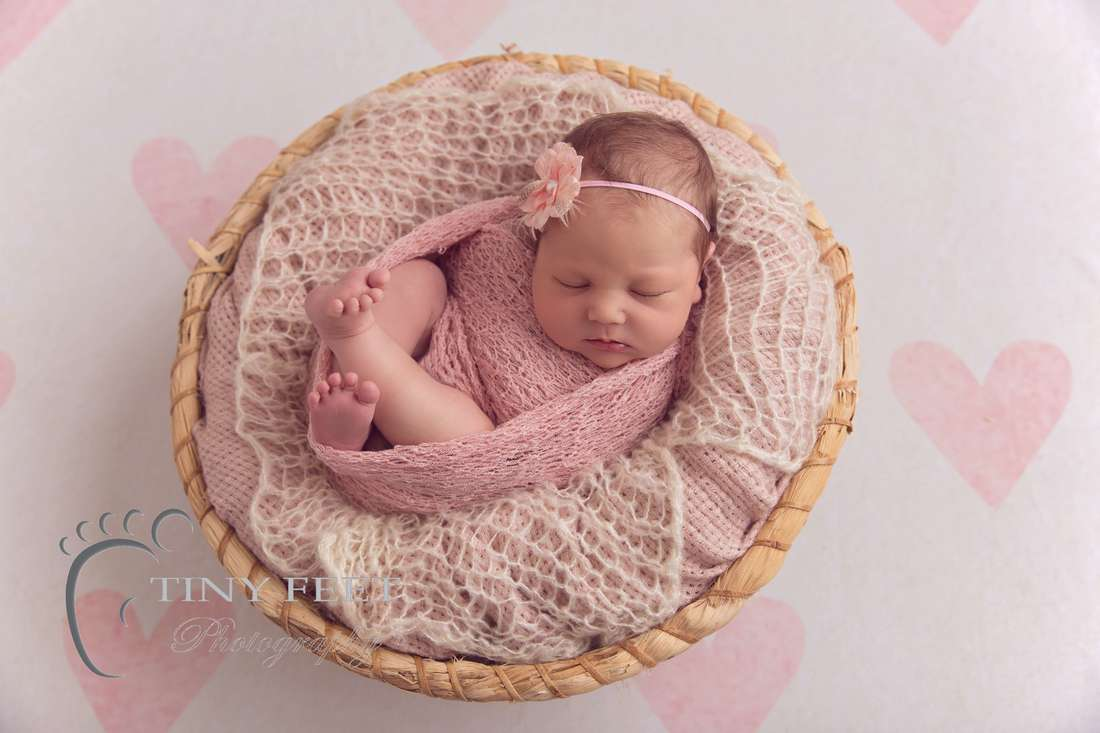 Tiny Feet Photography baby girl posed in bowl with pink wrap