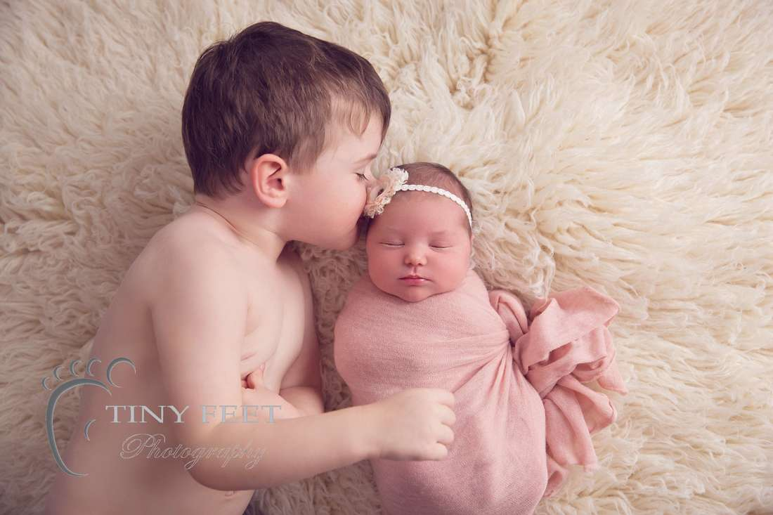 Tiny Feet Photography Perth newborn girl photographed with sibling