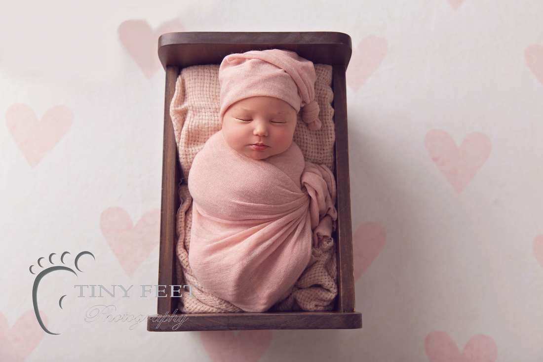 Tiny Feet Photography Perth newborn girl posed in Little Jar Big Dreams wooden bed in pink wrap
