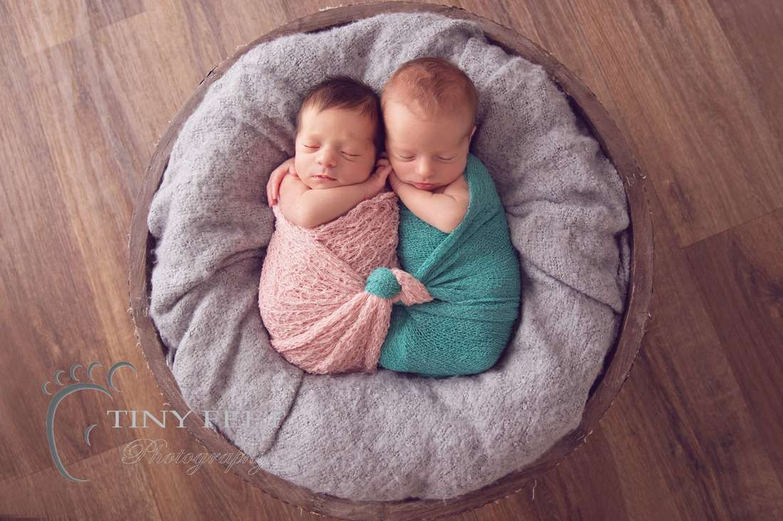 Tiny Feet Photography newborn twins posed in large bowl