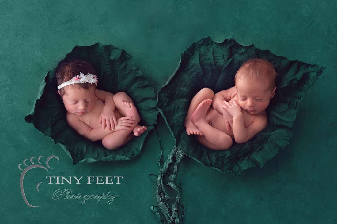 Tiny Feet Photography newborn twins posed in digital backdrop
