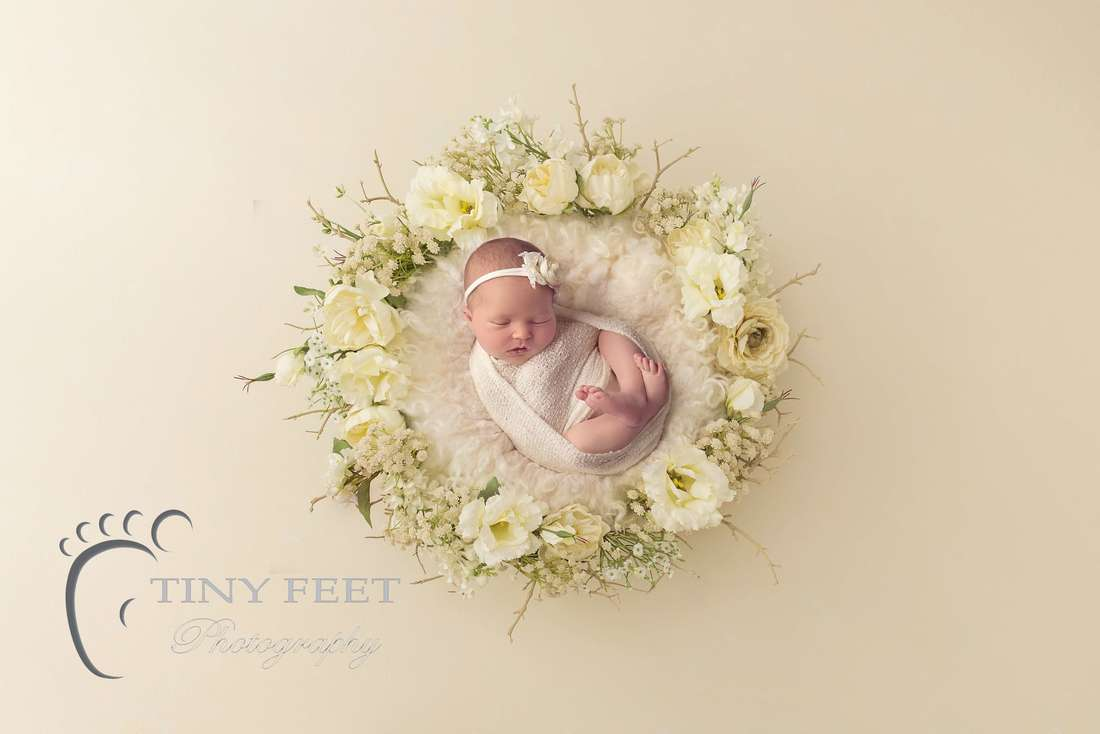 Tiny Feet Photography Newborn baby girl posed in digital backdrop