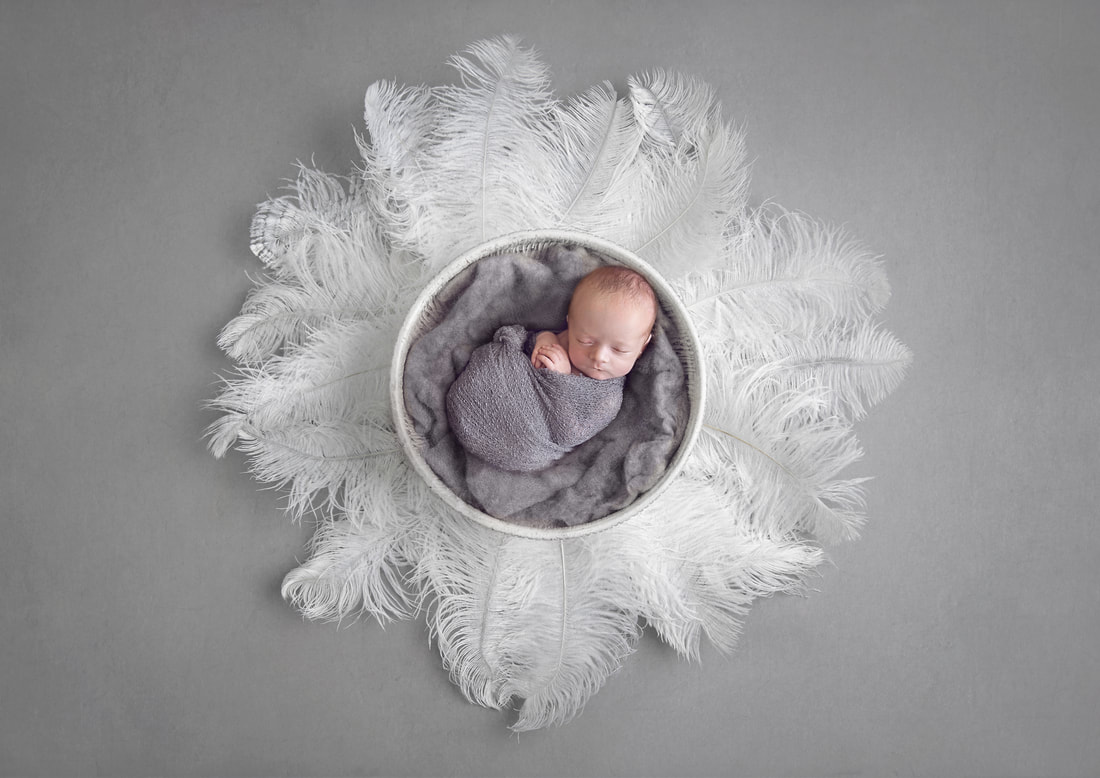 Tiny Feet Photography Baby boy posed in digital back drop bowl