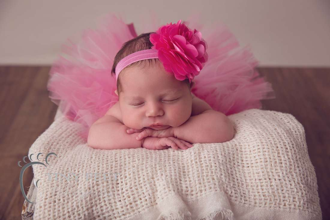 Tiny Feet Photography baby girl in pink tutu posed on tummy