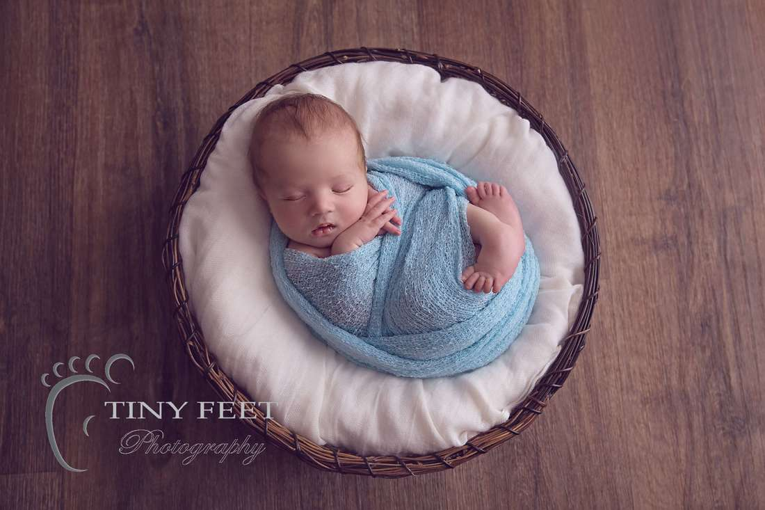 Tiny Feet Photography, newborn baby boy posed in bowl with blue wrap
