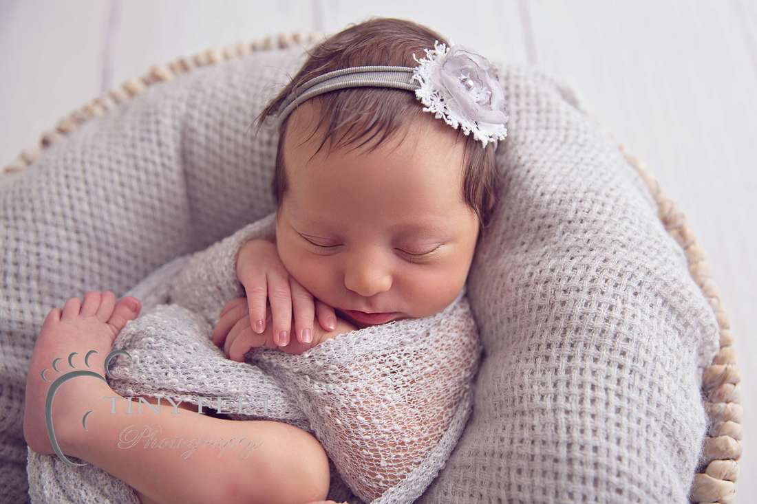 Tiny Feet Photography, newborn baby girl in grey wrap in a bowl