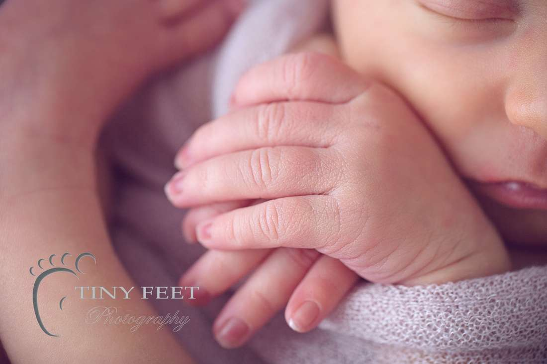Tiny Feet Photography, Macro detailed shots newborn baby fingers in pink wrap in a bowl