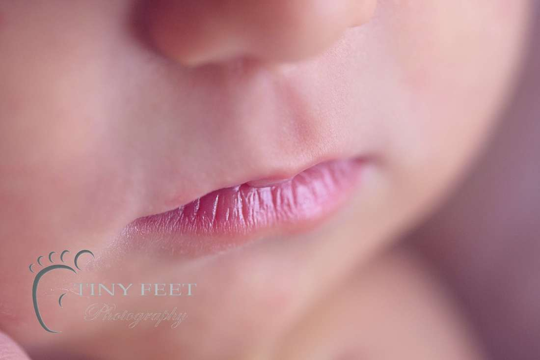 Tiny Feet Photography, macro close up shot of baby lips