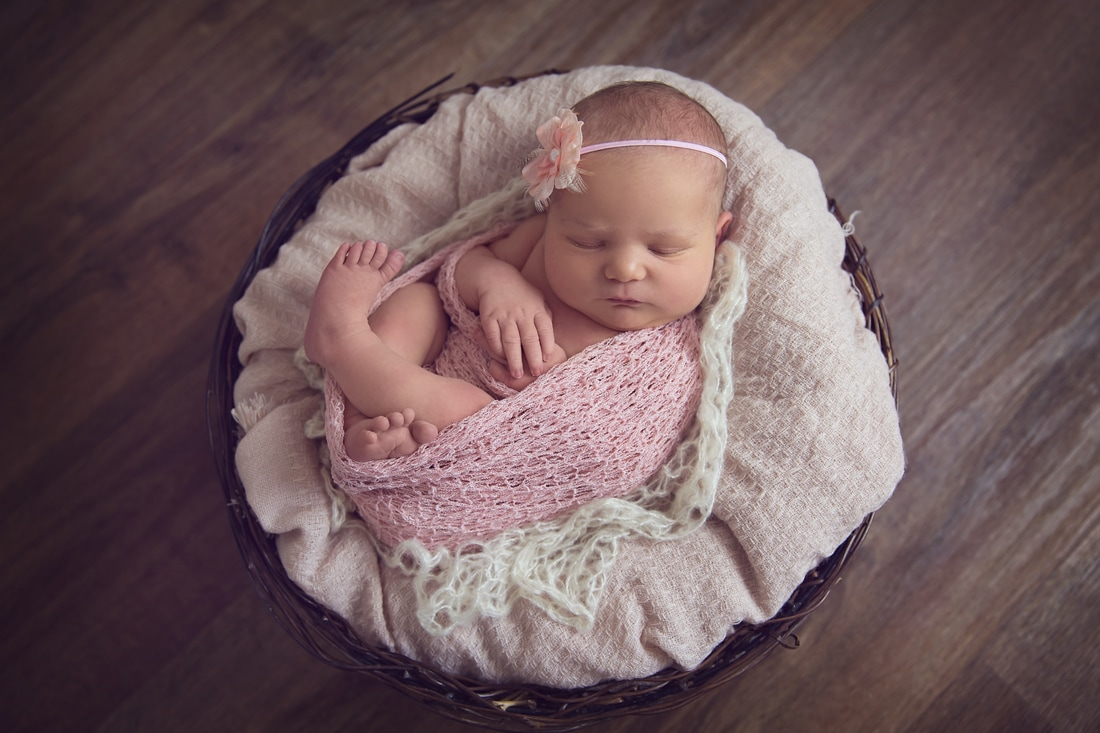 Tiny Feet Photography newborn baby posed in bowl with pink wraps