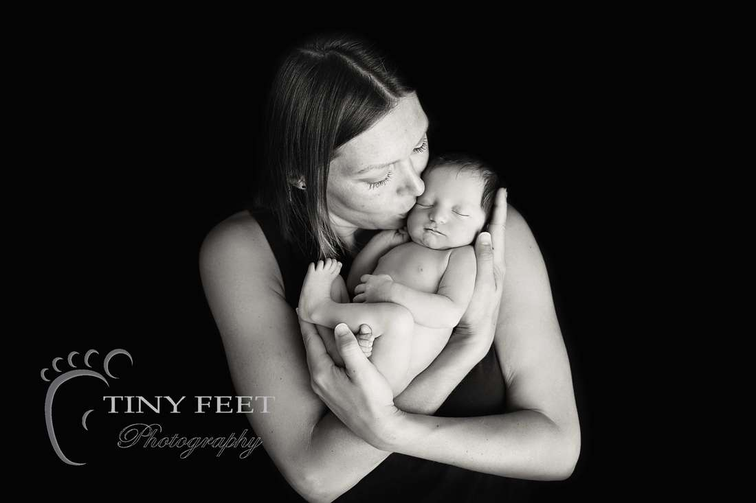 Tiny Feet Photography, newborn baby in black and white posed with mum