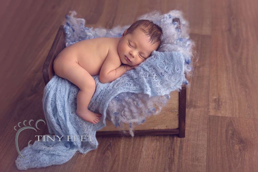 Tiny Feet Photography baby boy posed in bed prop on blue