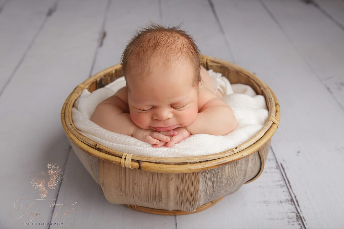 Tiny Feet Photography Newborn baby boy posed on chin on hands in upright prop of coconut bowl on white wood flooring